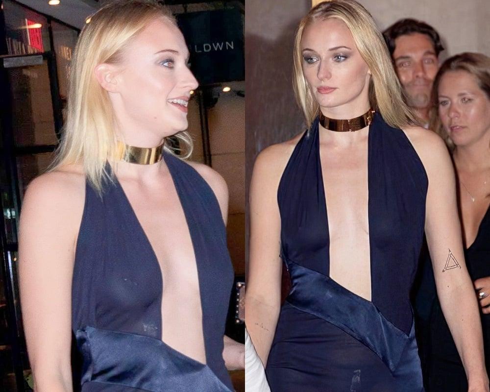 Sophie Turner's Pierced Nipples In A See Thru Dress
