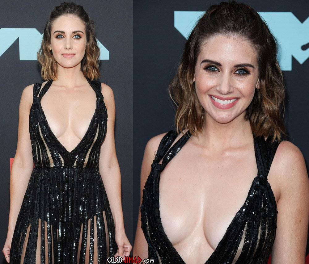 Alison Brie Behind-The-Scenes Side Boob And Nipple