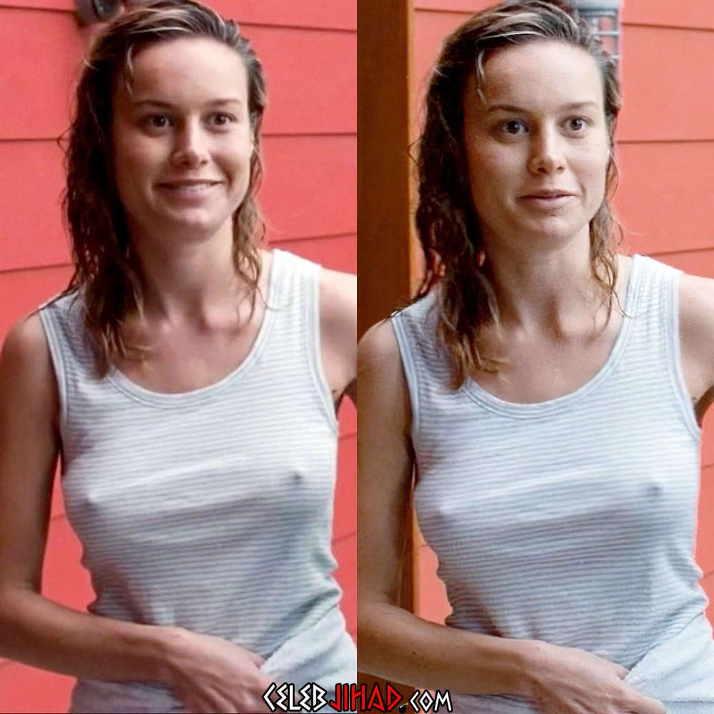 Brie Larson Braless Titty Bouncing
