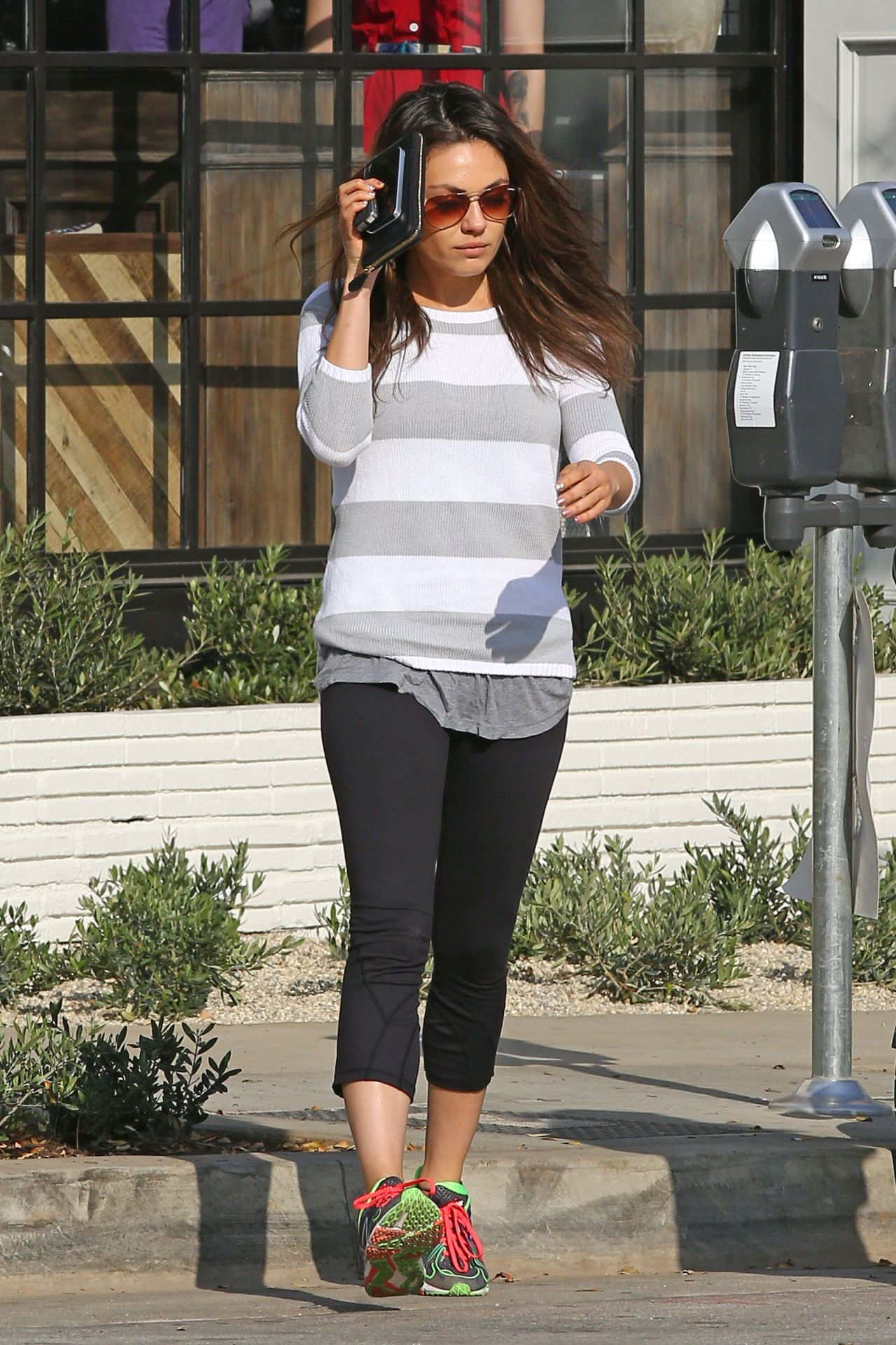 Mila Kunis Street Style In Spandex Out In LA January 2014