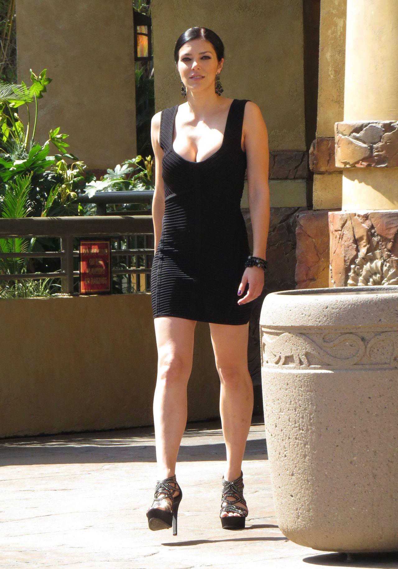 Adrianne Curry In Black Mini Dress Universal Studios