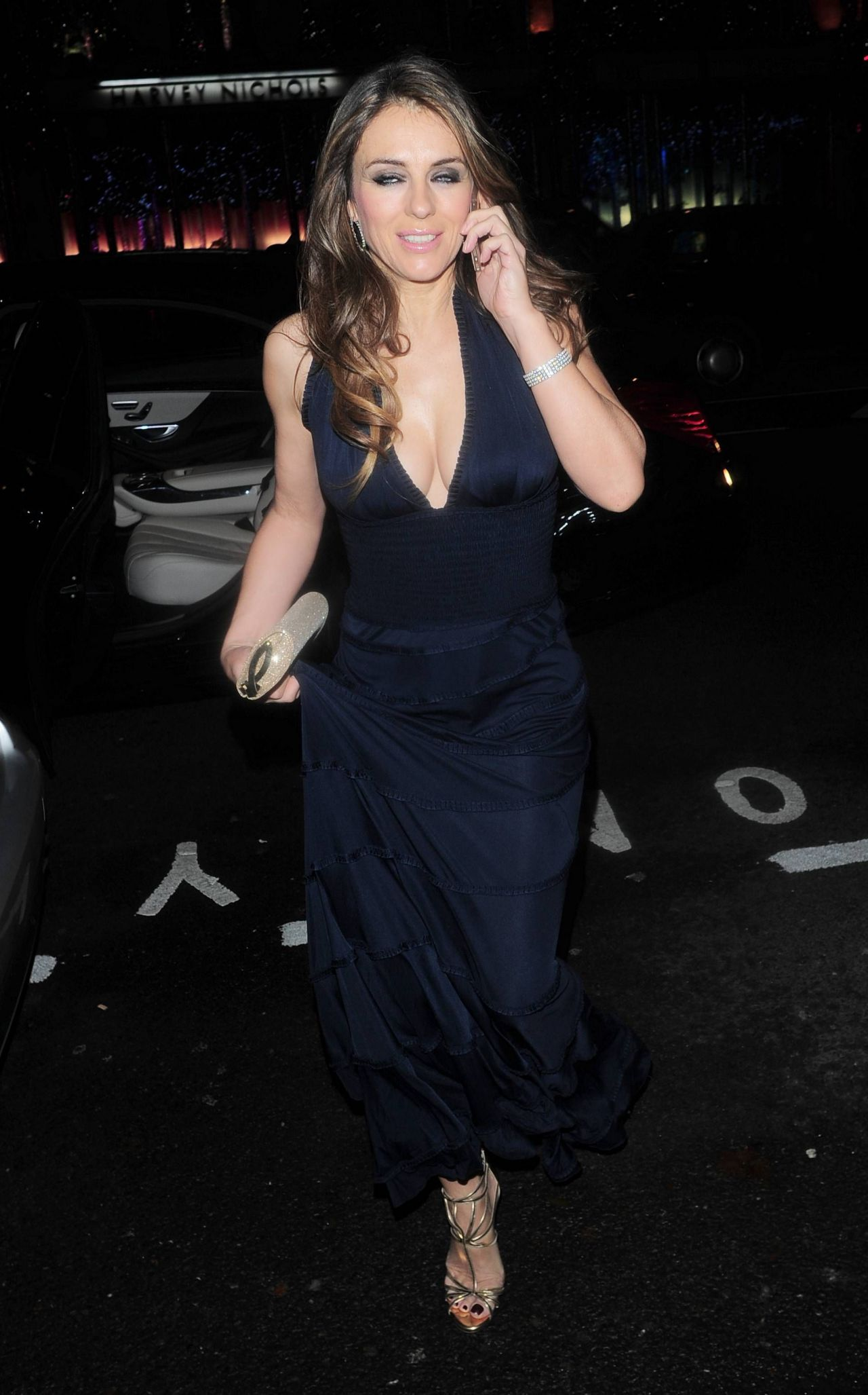 Elizabeth Hurley Night Out Style At Mandarin Oriental