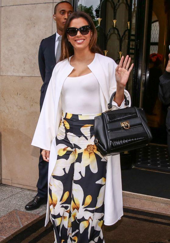 Eva Longoria Style Inspiration - Leaves the Four Seasons Hotel George V in Paris 5/10/2016
