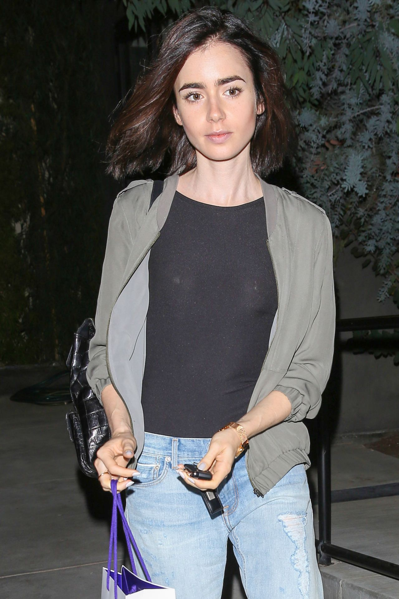Lily Collins Leaving The Salon With Her Normal Hair