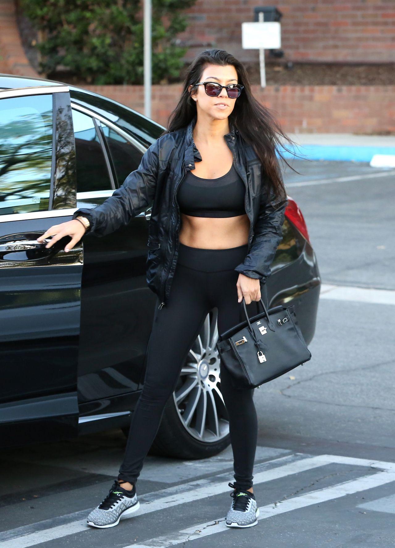 Kourtney Kardashian In A Black Sports Bra And Leggings