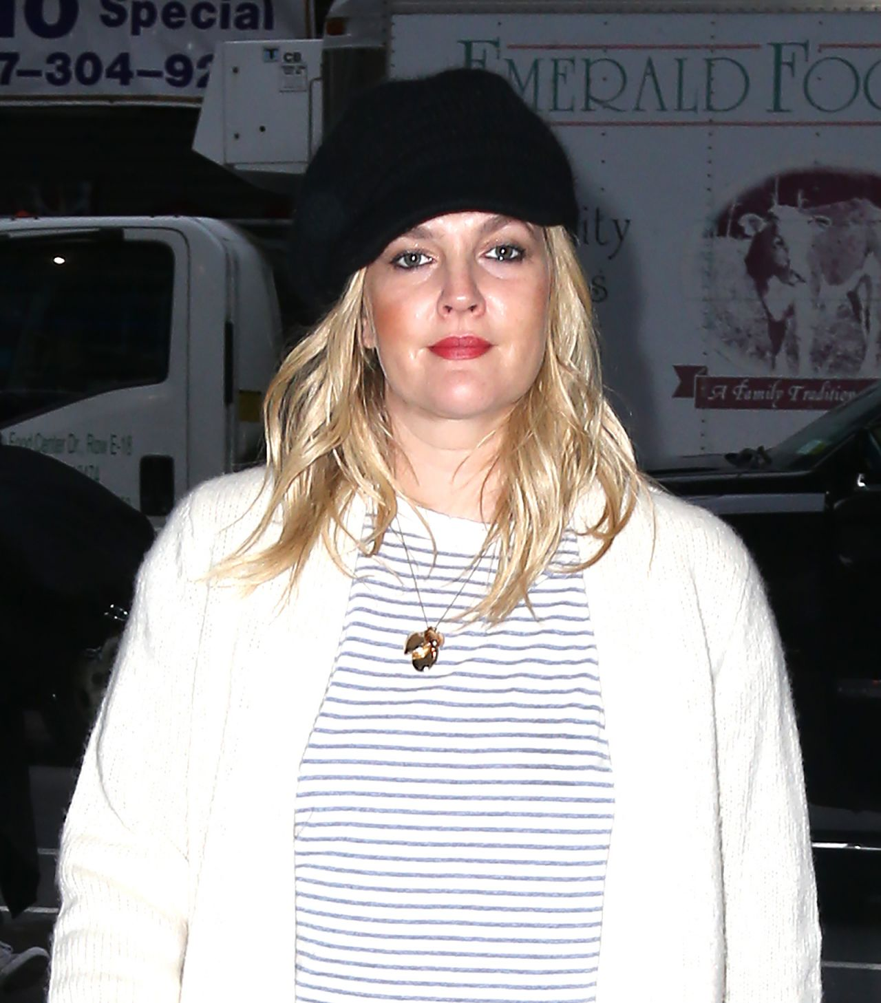 Drew Barrymore In A Long Sweater Trench Coat Arriving At