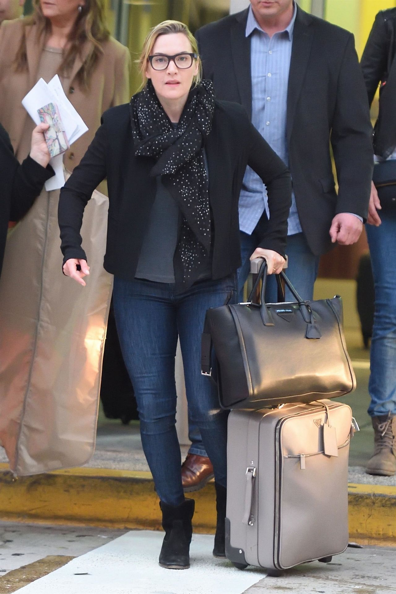 Kate Winslet Arriving On A Flight At JFK Airport In New