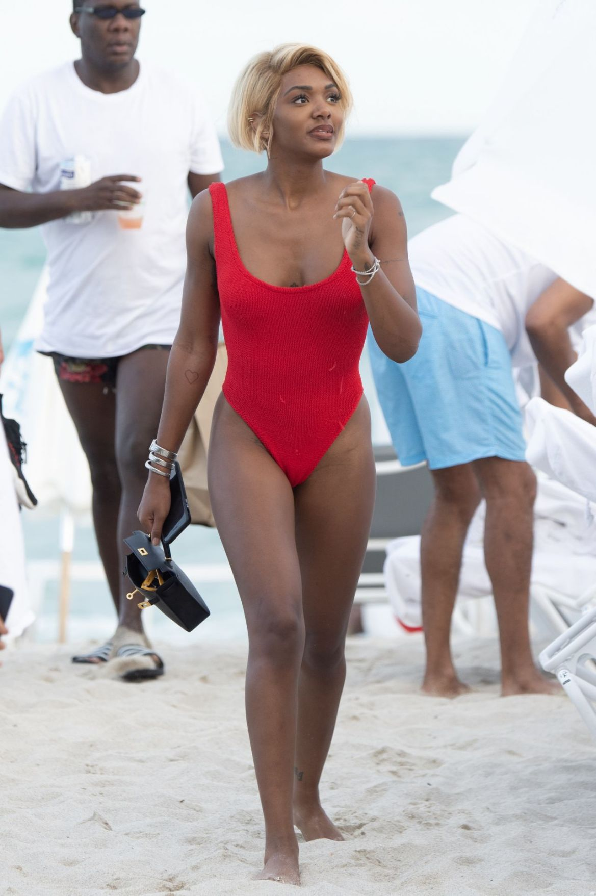 Elisa Johnson in a Red Swimsuit in Miami Beach 01/01/2019