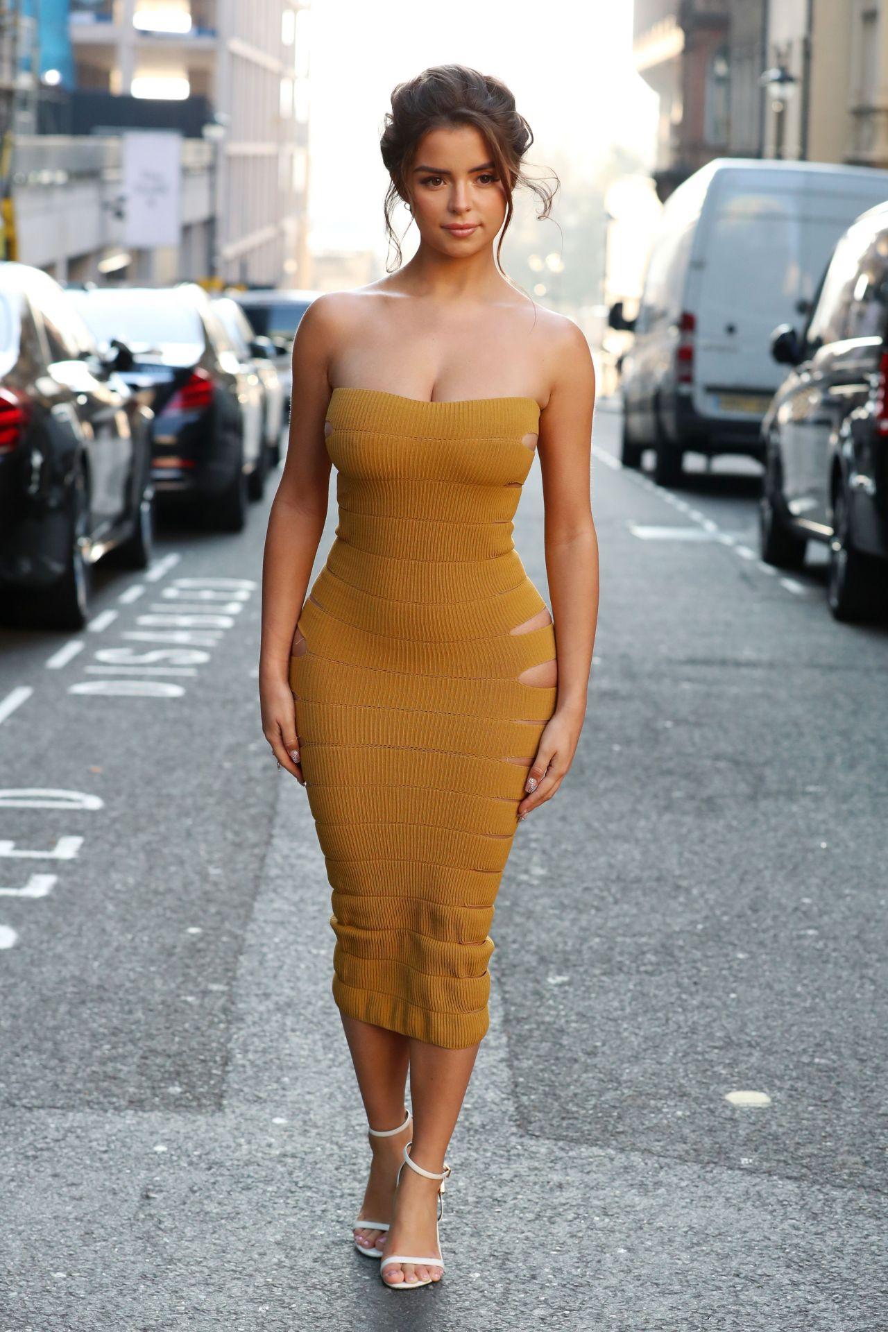 Demi Rose In Skin Tight Mustard Dress 02152019