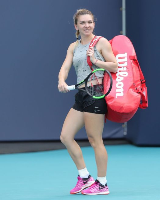 Simona Halep - Practice Prior to the Start of the Miami ...
