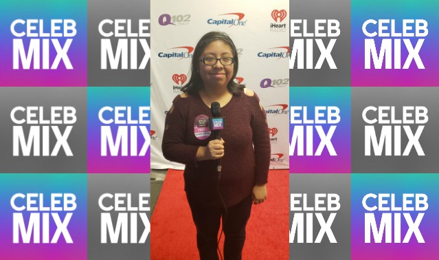 CelebMix logo background with Editor Michele Mendes reporting at the Q102 Jingle Ball.