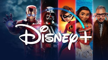 The Words Disney+ in advertisement for the UK with Iron Man, Darth Vader, Mrs. Incredible, Moana, and an old guy with glasses from National Geographic segmented in the background.