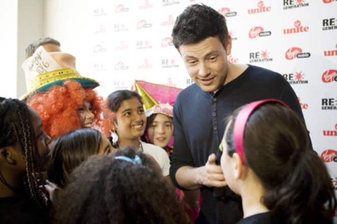 Cory Monteith speaks to fans at a $50,000 gift announcement to two youth charities by Virgin Unite, the non-profit foundation of Richard Branson's Virgin Group. Photograph By FRED LEE