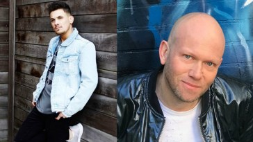 "Collage of the artists of the song ""If You Love Me"" with Dario G on the right wearing a leather jacket in front of a blue neon background, and Danny Dearden on the left wearing a light blue denim jacket, black jeans, and white trainers, leaning against a wooden building."