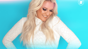 "Single artwork for ""I'm Feeling It (In The Air)"" which is light neon blue with Cascada frontwoman Natalie Horler posing with hands on her hips wearing a white long-sleeved dress with her blonde hair running down her shoulders."