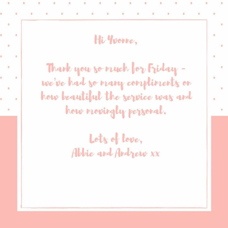 a thank you card for the wedding celebrant from the couple she created a ceremony for.