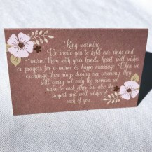 a card explaining to guests at a wedding what a Ring Warming Ceremony is and gives instructions as to how each guest is to hold the rings for a moment and warm them with their love and good wishes.