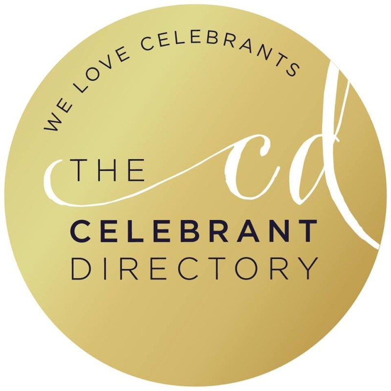 Badge showing text saying we love Celebrants