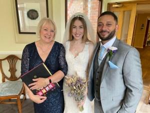 wedding couple with their Celebrant