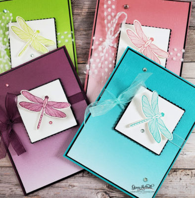 Dragonfly Garden cards created in spring colors