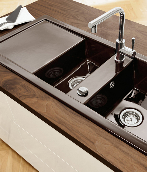 contemporary brown kitchen sink