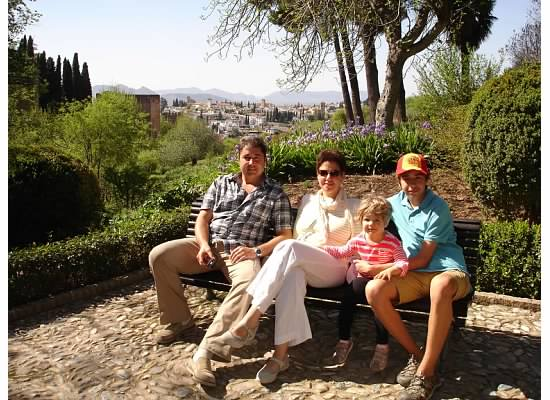 In the gardens of Alhambra. Sierra Leone Mountains in the background.