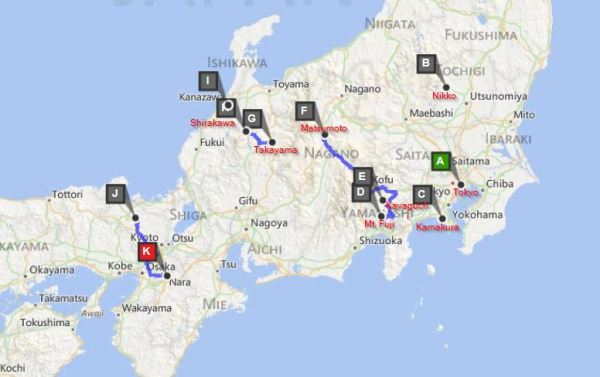 The map of our journey through Japan