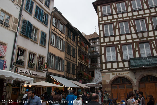 With a map in had, we headed to the picturesque Petite France, tanners' and millers' quarter dating back to the 16th century (before the city became French for the first time).  Our walk was mostly along the river; and we crossed several foot bridges.