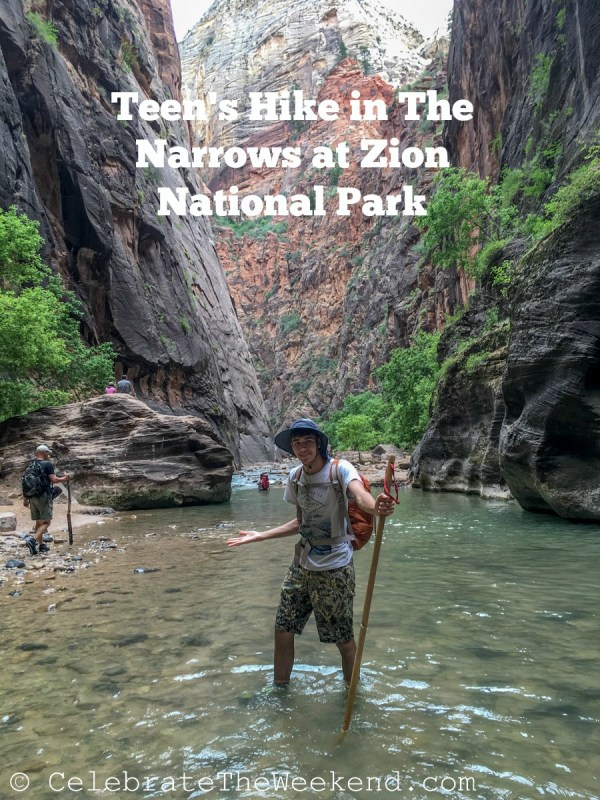 Teen hiking in The Narrows trail in Zion National Park in Utah on a family trip