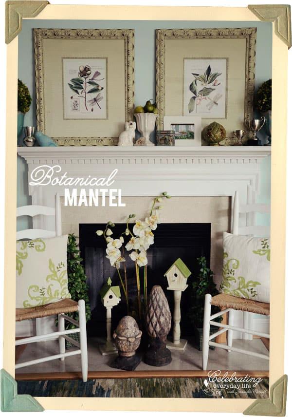 Botanical Inspired Mantel, Blue & White Mantel