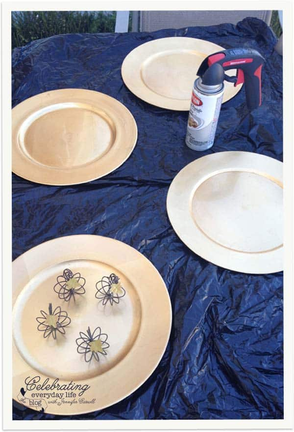 Gold Chargers before How to customize plate chargers with spray paint & How to spray paint a plastic charger Tablescape Tips
