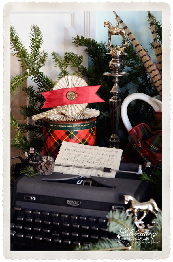 vintage typewriter joy to the world hymn sheet music vintage paper medallions pheasant - Horse Christmas Decorations