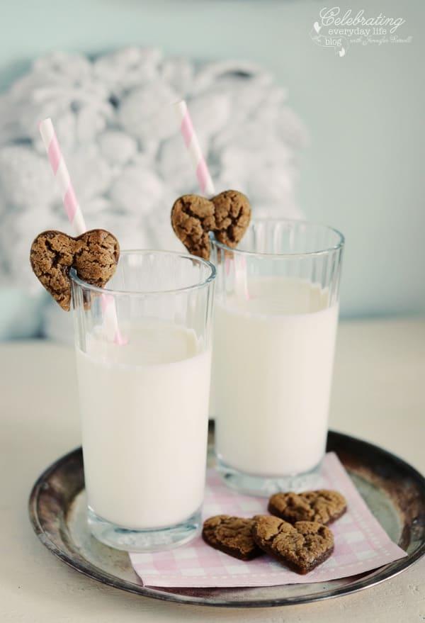 Gingerbread Hearts cookies & milk, valentine cookie treat, valentine's day