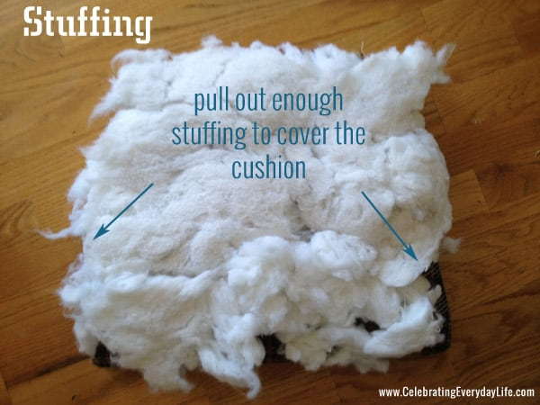 how to recover a dining room chair, stuffing step