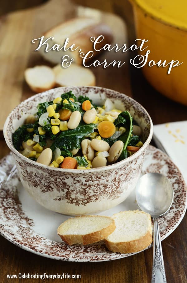 Kale, Carrot & Corn Soup Recipe, Late Summer Soup Recipe, Easy Entertaining Recipe, Savory Soup Recipe