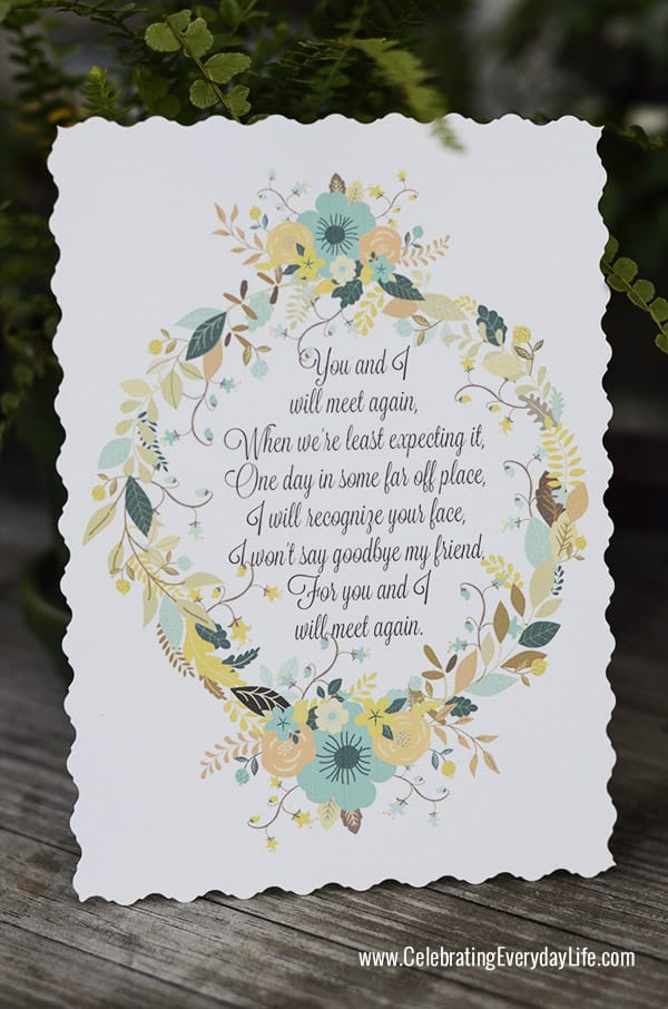 """You and I will meet again"" Tom Petty lyrics, Styling a Custom Card, Transforming a Card into a Keepsake, Making a special Bon Voyage Card, Celebrating Everyday Life with Jennifer Carroll"