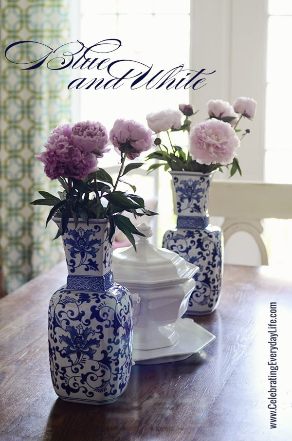 Touches Of Blue Amp White On My Dining Room Table Summer