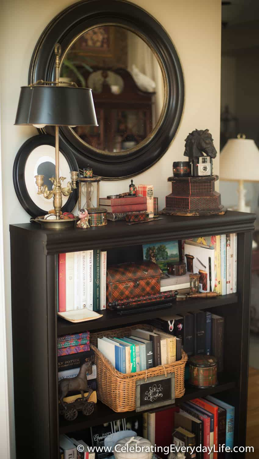 Bookshelf makeover with CeCe Caldwell paint and Tartanware accents