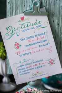 Gratitude, Living a grateful life, Free Printable, Celebrating Everyday Life with Jennifer Carroll