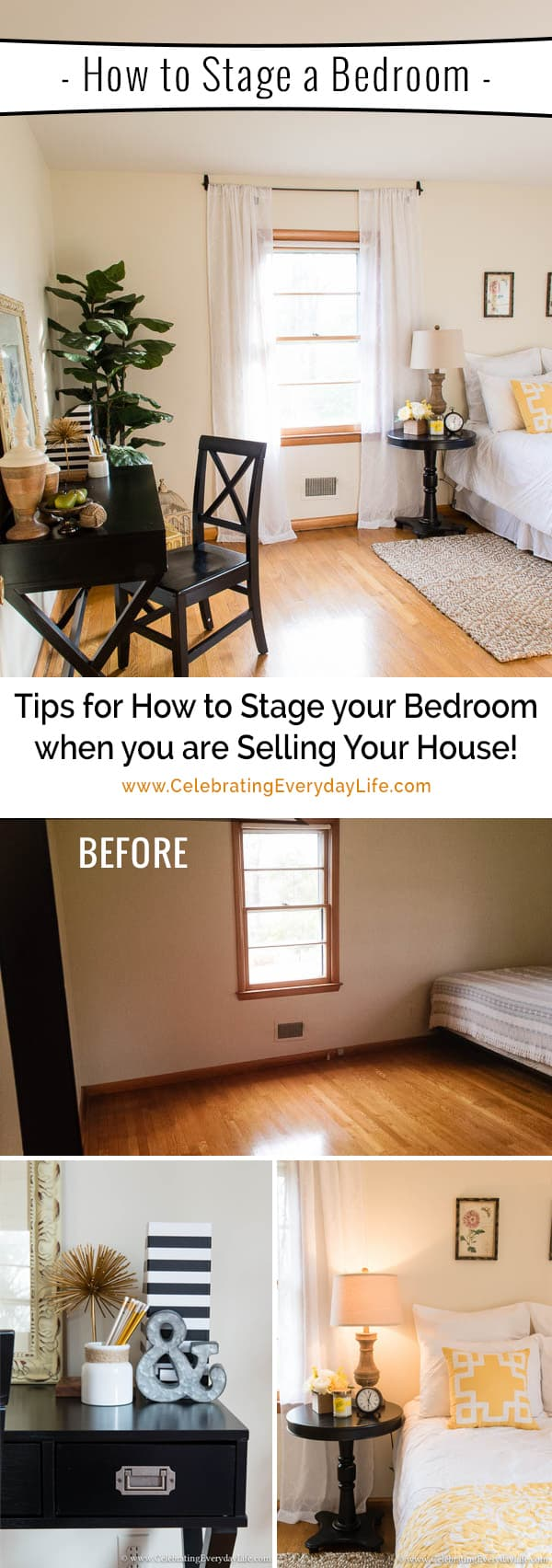 Home staging ideas, How to stage a bedroom, decorate a bedroom for sale, celebrating everyday life with jennifer carroll