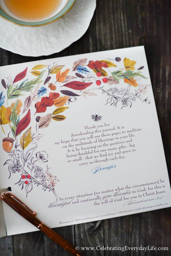 Gratitude Journal PDF, Printable Gratitude Journal, Thanksgiving Printable, Celebrating Everyday Life with Jennifer Carroll