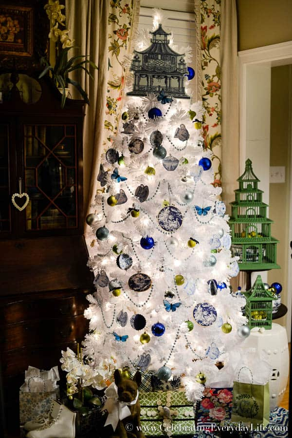 blue white christmas tree flocked white christmas tree diy christmas ornaments walmart - Blue And White Christmas Decorations