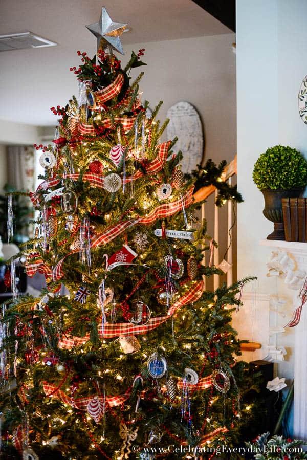 my plaid christmas tree decorations plaid ribbon garland old fashioned christmas tree red - Old Fashioned Christmas Tree Decorations