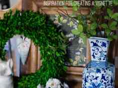 How to add Boxwood to your decor! Tips for styling a vignette with greenery and mixing in favorite collections like Blue & White. Easy decorating ideas you can do in minutes! How to dress up a table with boxwood.