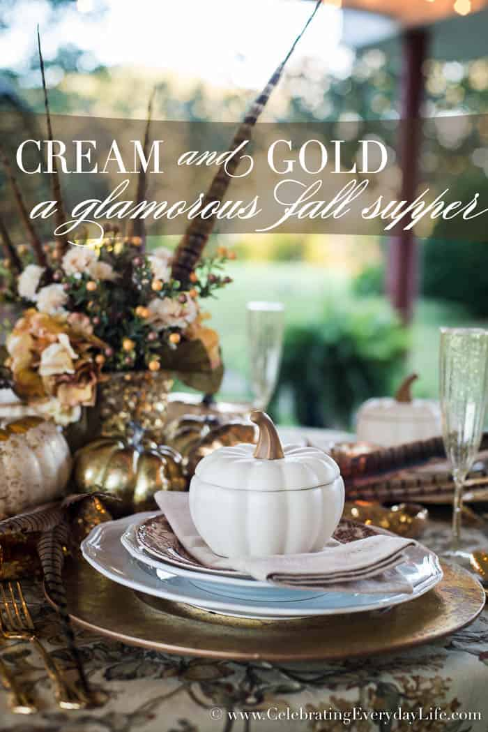 A glamorous fall supper in cream and gold celebrating for 10 table cream