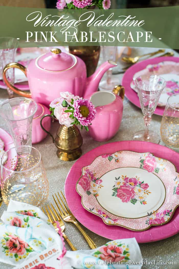 A romantic Vintage Valentine Pink Tablescape just in time for Valentineu0027s Day entertaining - best of : fuschia paper plates - pezcame.com