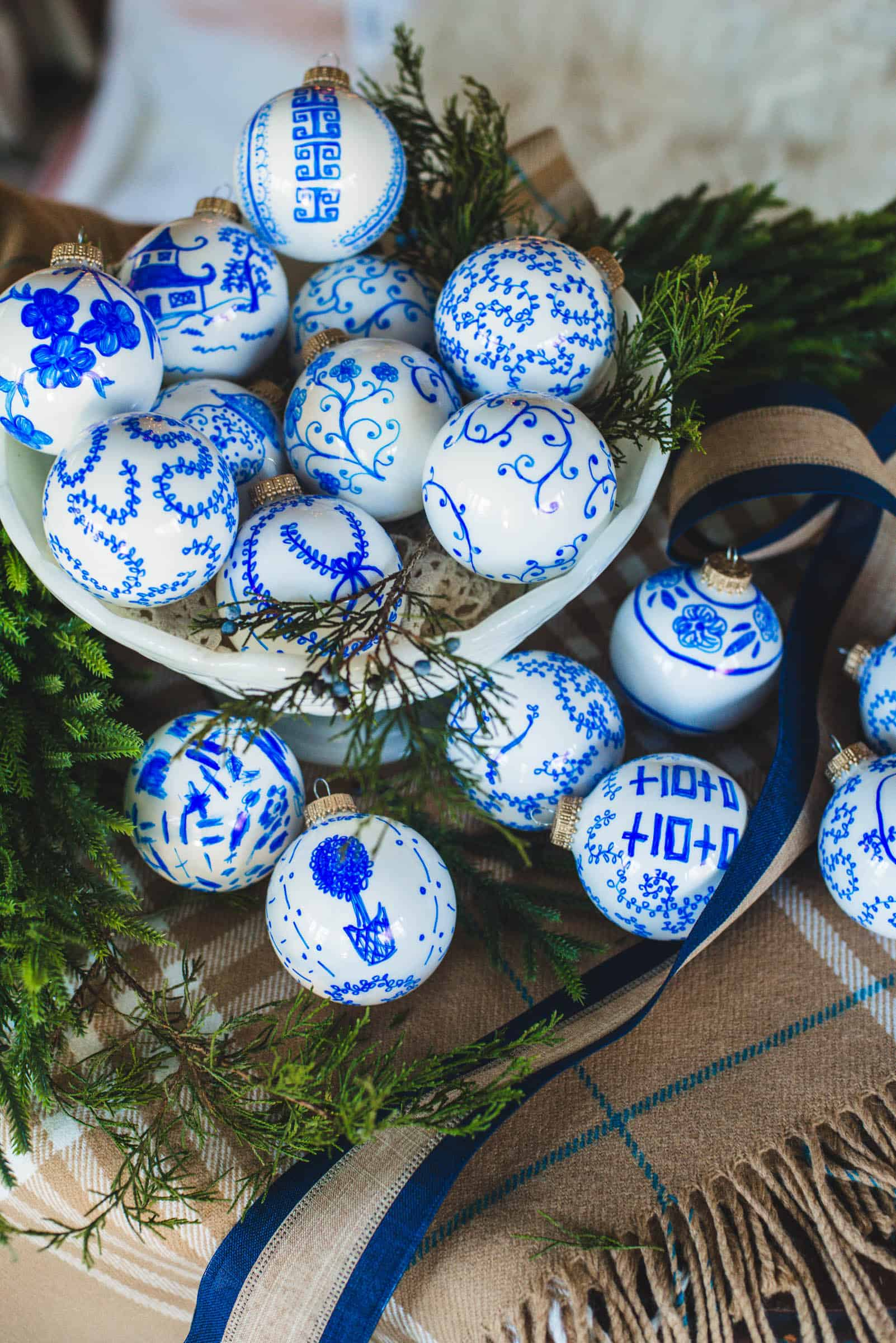 How to Make Unique Blue & White Chinoiserie Ornaments tutorial