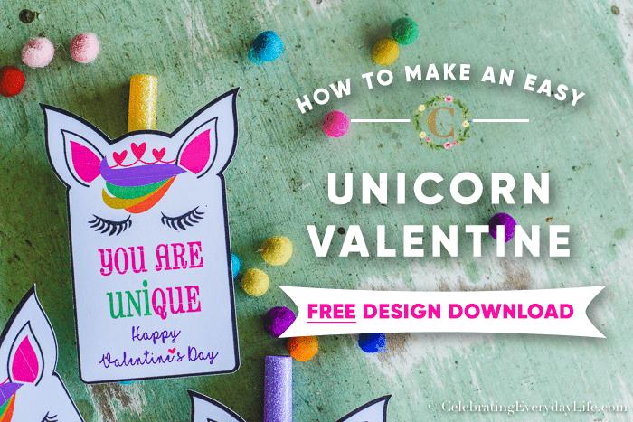 How to Create Easy Unicorn Valentines + Free Printable