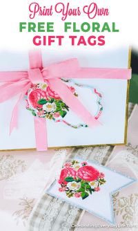 floral gift tag on white box with a pink velvet ribbon on a green table