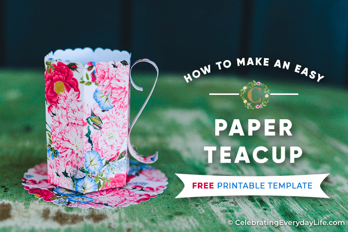 floral paper teacup on a green table